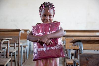 On 11 April 2019 in Beira, Mozambique, Nilda Alberta Massuve, 6, receives her education pack.