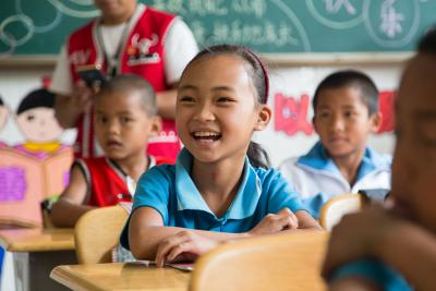 A girl attends a Social and Emotional Learning class at a school in Cangyuan, Yunnan Province, in 2018.