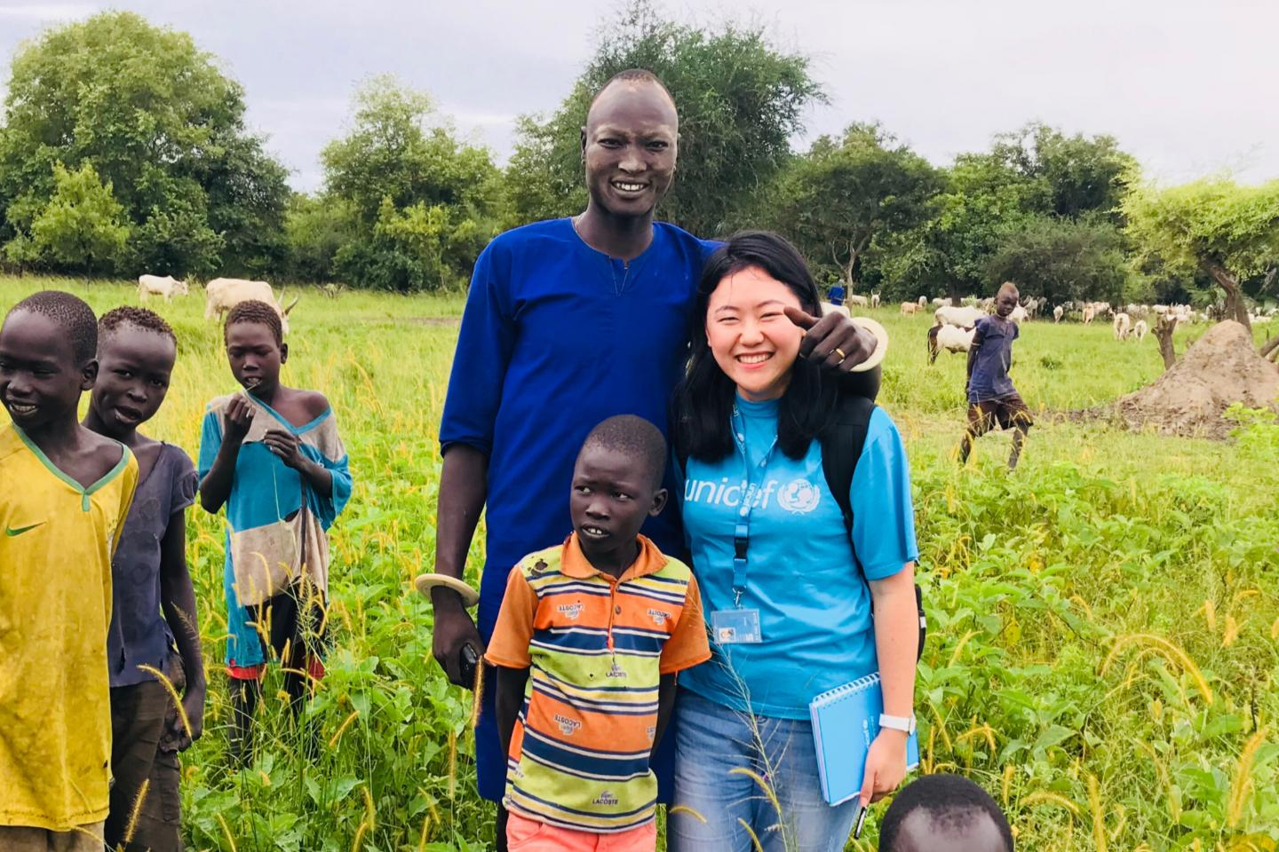 Yiming, an Education Officer on field mission, visits the Pulchuk Cattle Camp located in some remote area in the Lakes State of South Sudan.