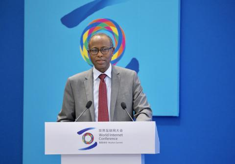"UNICEF Deputy Executive Director Omar Abdi speaks at a sub-forum on ""Protection of Minors Online and Governance of Internet Ecology"" at the 2019 World Internet Conference in Wuzhen, Zhejiang Province, 20 October 2019."
