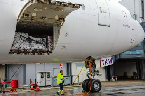 A flight bound for Shanghai is being loaded with more than 5 tons of protective equipment including protective suits and masks at the airport in Copenhagen on 28 January 2020.