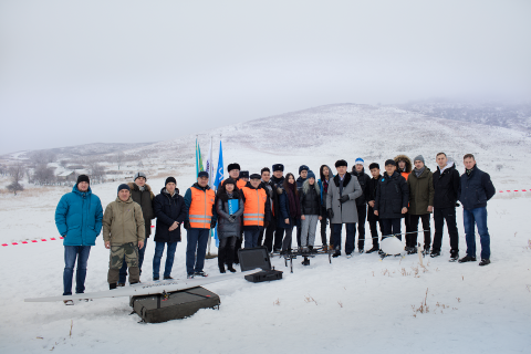 Testing use of drones in search and rescue operations, Zhambyl rayon, Almaty region, Kazakhstan.