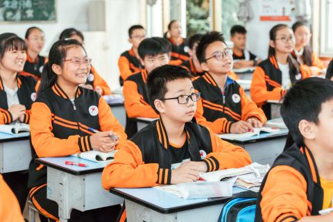 Students attend a lesson in Yixing School of Zhong County, Chongqing, China on 3 June 2020.