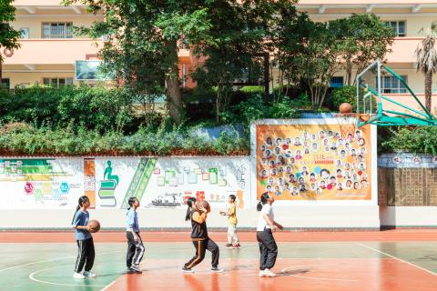 Students attend PE lesson at Yixing School of Zhong County in Chongqing, China on 3 June 2020.