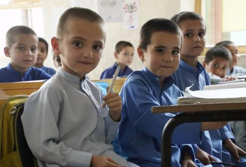 Young students from one of the largest schools in Jalalabad supported by the UNICEF Afghanistan Country Office.