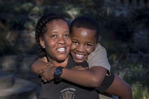 SEPTEMBER 20, 2016: Livey Van Wyk with his son Remi, 13 - born HIV-negative thanks to UNICEF-supported PMTCT proframme.