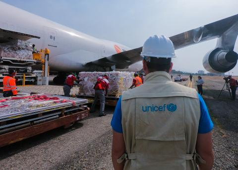 UNICEF staff at runway at Maiquetia airport on April 8,2020. A plane, managed by UNICEF, arrived in the country with 90 tons of supplies for the care of the most vulnerable children, adolescents, and women, in the context of the COVID-19 pandemic.