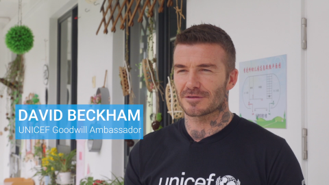 David Beckham meets children in Shanghai
