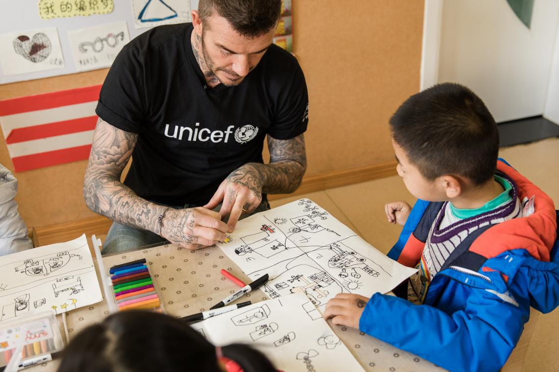 UNICEF Goodwill Ambassador and Global Icon David Beckham paints a picture during a visit to Xianghuaqiao Kindergarten on the outskirts of Shanghai, China, on 27th March 2019.