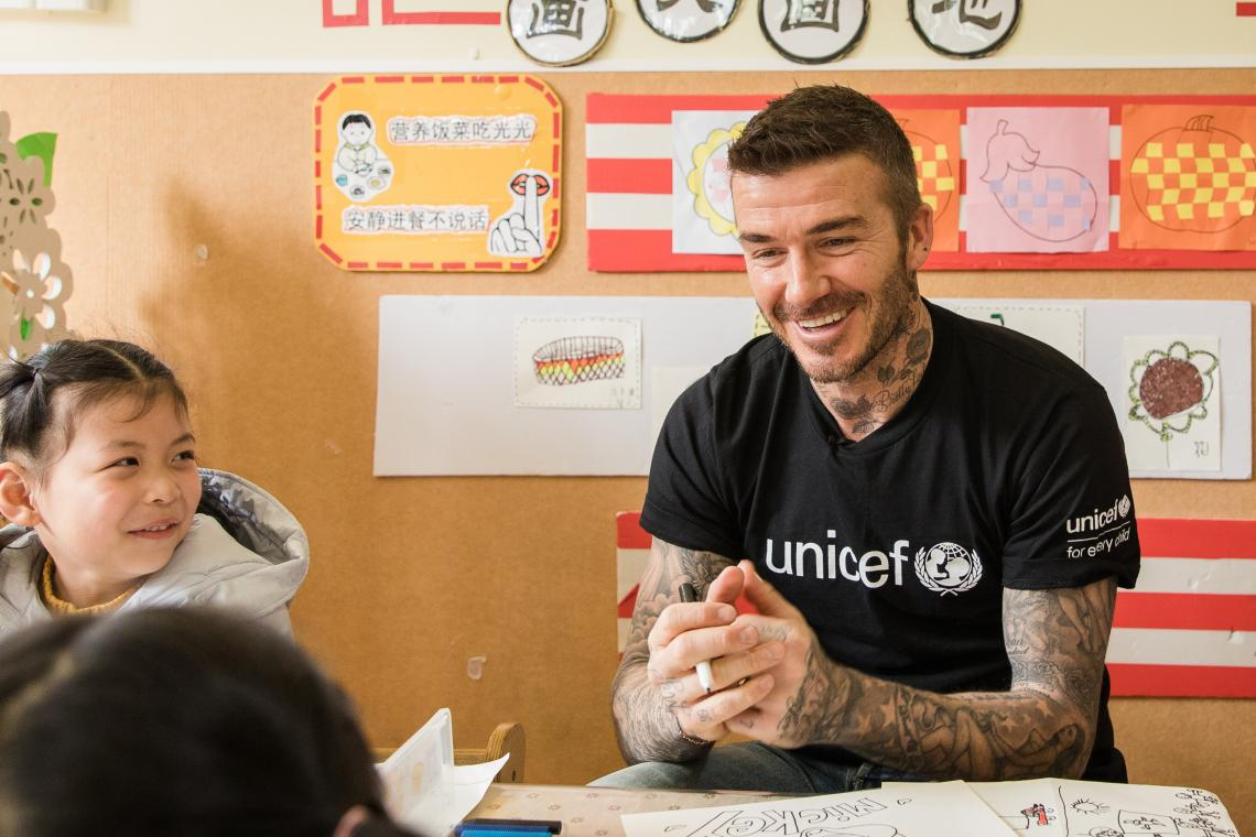 UNICEF Goodwill Ambassador and Global Icon David Beckham talks with children during a visit to Xianghuaqiao Kindergarten on the outskirts of Shanghai, China, on 27th March 2019.