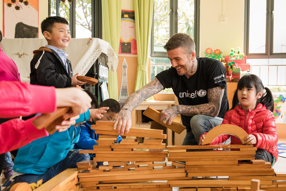 UNICEF Goodwill Ambassador and Global Icon David Beckham and a group of children play with building blocks during a visit to Xianghuaqiao Kindergarten on the outskirts of Shanghai, China, on 27th March 2019.