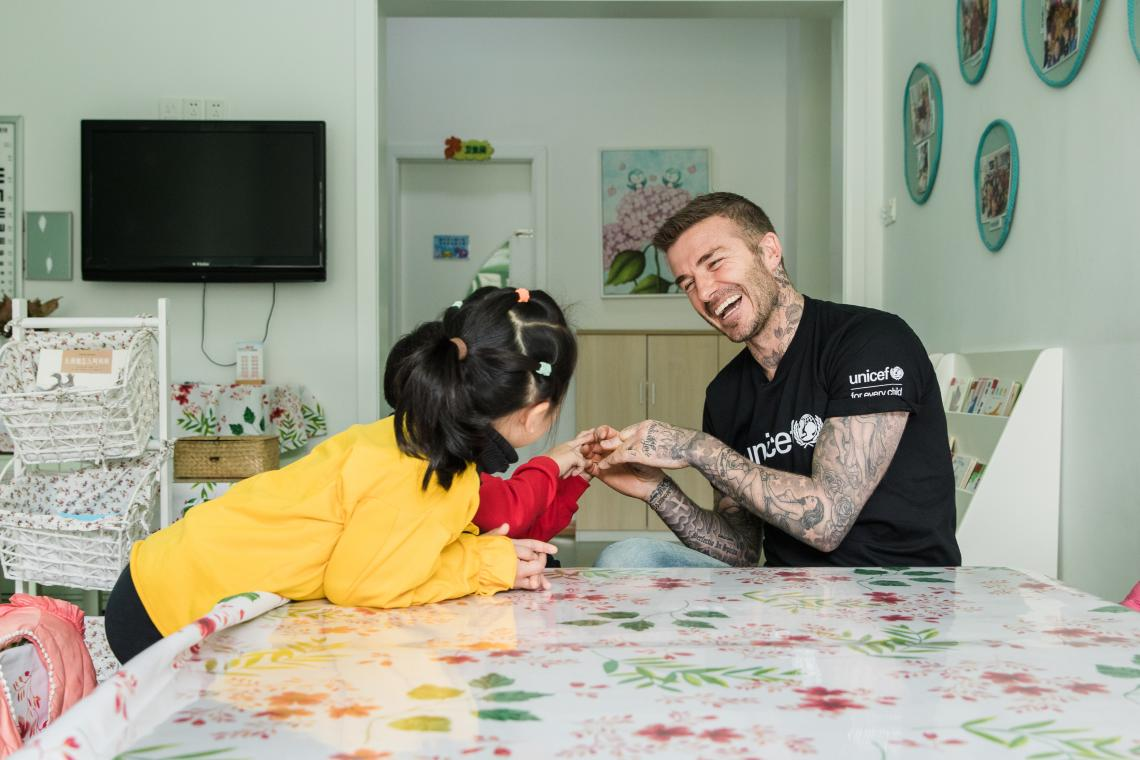 UNICEF Goodwill Ambassador and Global Icon David Beckham talks to children during a visit to Xianghuaqiao Kindergarten on the outskirts of Shanghai, China, on 27th March 2019.