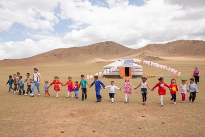 UNICEF funded mobile kindergarten in Janjin Bagh, Erdenetsogt Soum, Mongolia provides quality, complementary early learning for over 23 children from the area's nomadic, herder community.