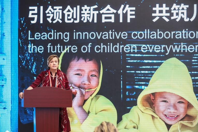 Ms. Rana Flowers, UNICEF China Representative speaks at the event.