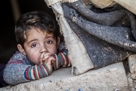 A child struggling to survive in a war.
